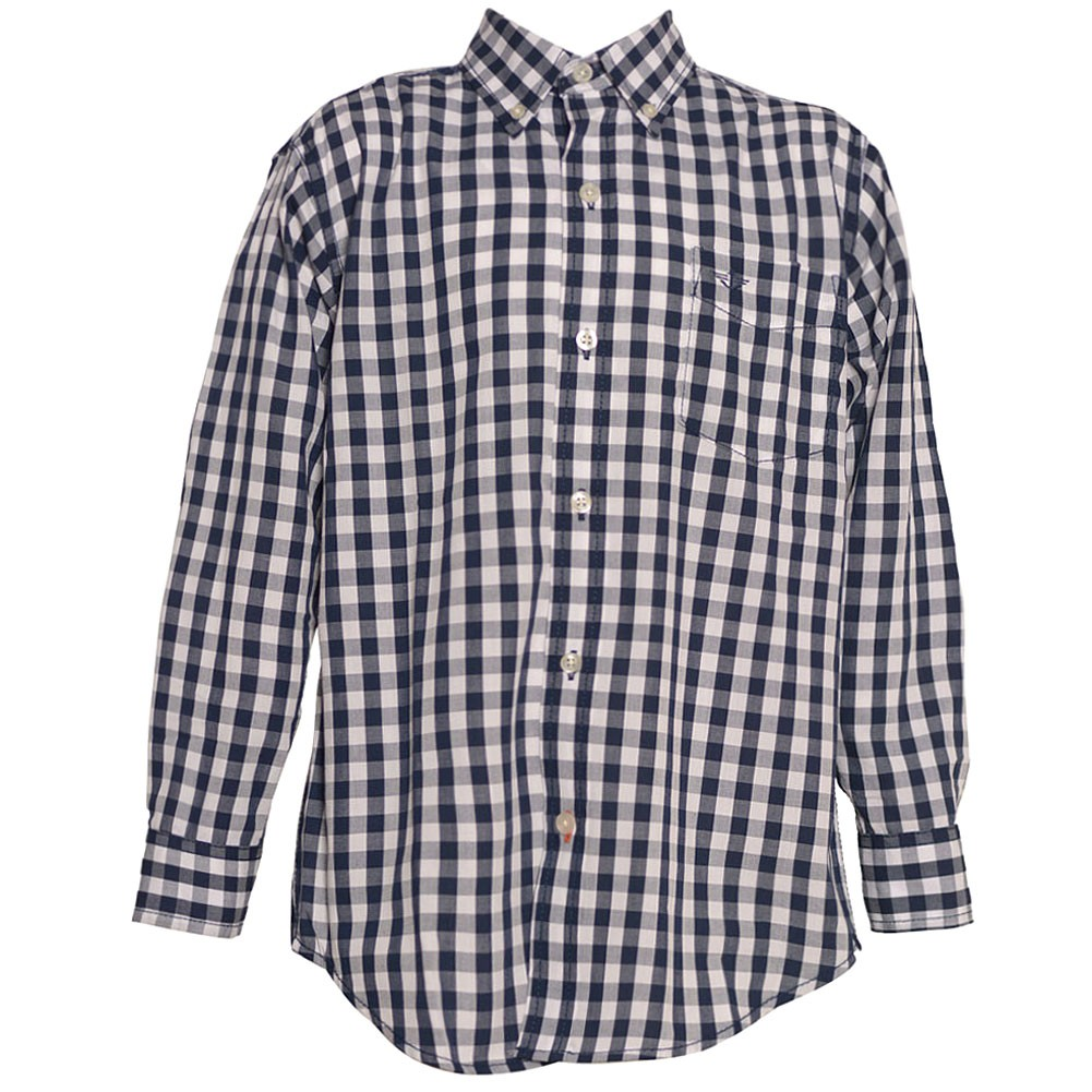 Big Boys Navy Plaid Button Down Straight Collar Long Sleeve Shirt 8