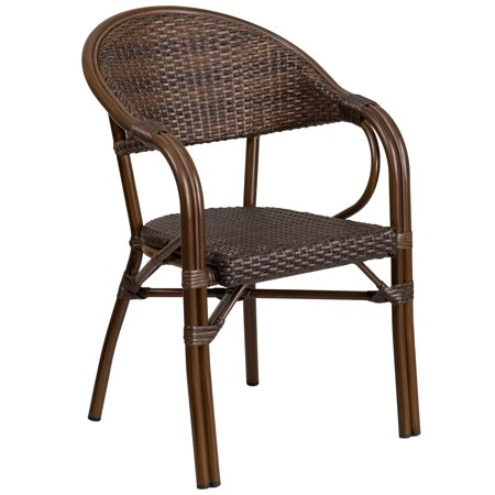 Lancaster Home Milano Series Rattan Restaurant Patio Chair with Bamboo-Aluminum Frame ()