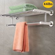 Stainless Steel Towel Rack Stand for Bathroom with Shelf Wall Mounted Towel Bar Towel Holder Polished Chrome