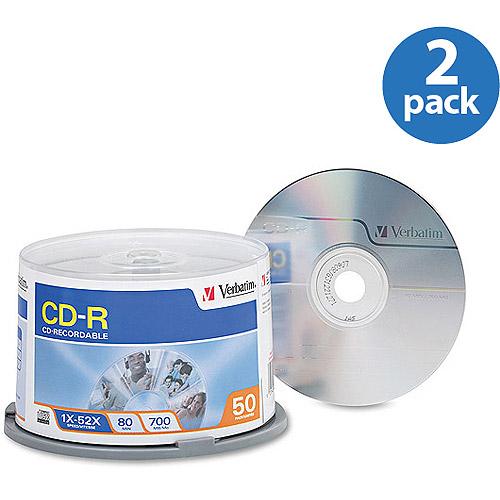 Verbatim 700MB 52X CD-R 2 Pack of 50 Disc Cake Box Value Bundle
