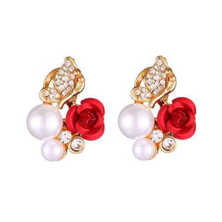- Fashion Rose Flower Pearl Rhinestone Ear Clips Alloy Women Luxury Earrings Jewelry