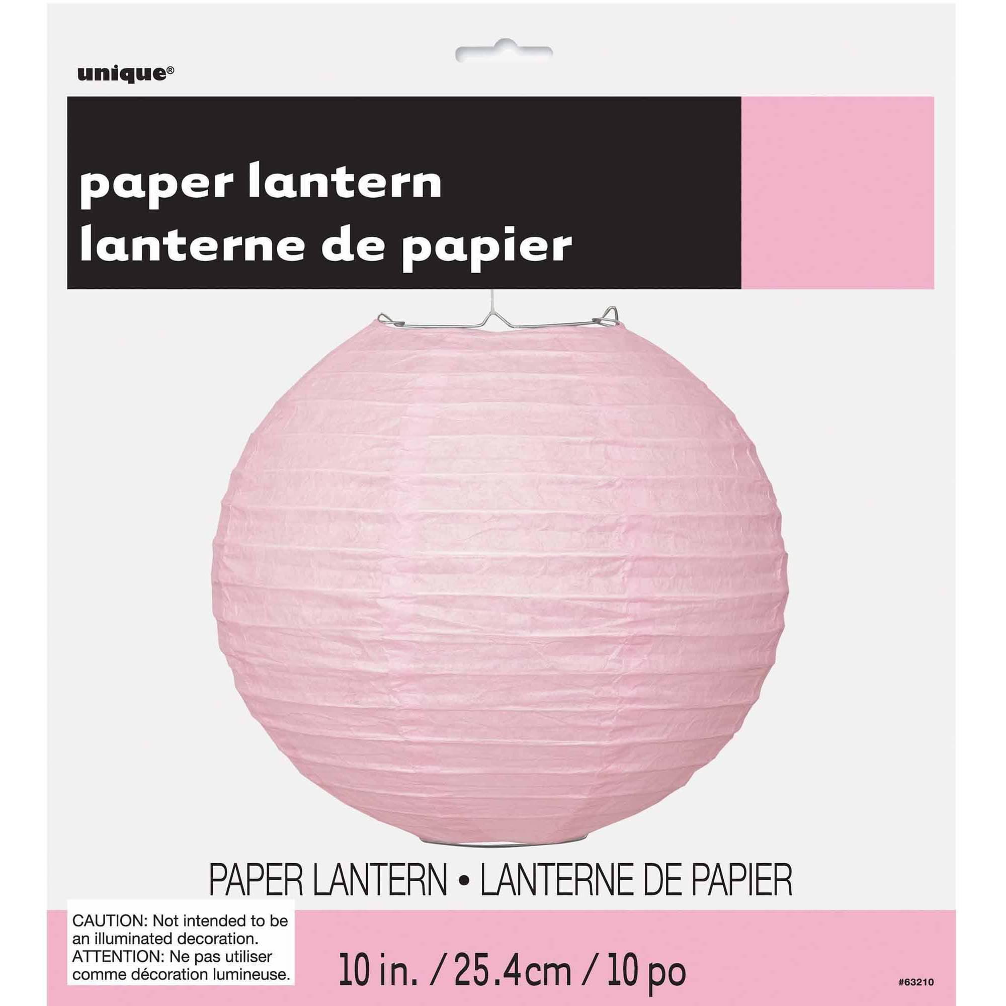 Round Paper Lantern, 10 in, Light Pink, 1ct
