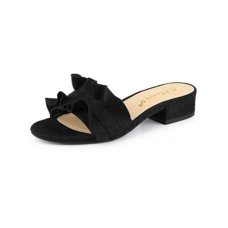 Ruffle Front Sandal (Women's Ruffle Slide Low Heel Sandals Shoes )