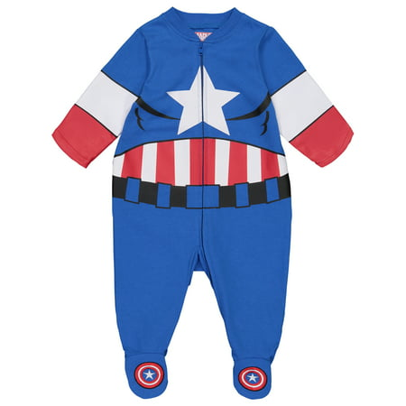 Marvel Avengers Captain America Baby Boys' Zip-Up Costume Coverall with Footies (6-9 Months) - Newborn Superhero Costumes