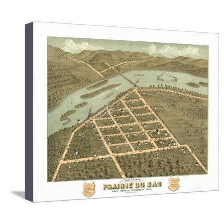 Prairie du Sac, Wisconsin - Panoramic Map Stretched Canvas Print Wall Art By Lantern (Wisconsin Pleasant Prairie)