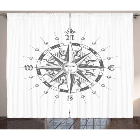 Compass Curtains 2 Panels Set, Hand Drawn Compass with the Face of the Sun on Directions North South East West Sailing, Window Drapes for Living Room Bedroom, 108W X 84L Inches, Grey, by Ambesonne