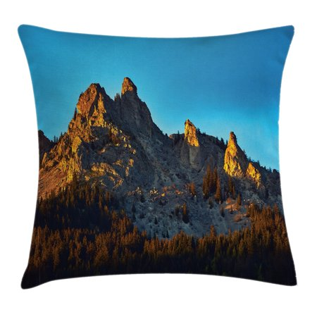 Lake House Decor Throw Pillow Cushion Cover, Mountain with Pine Trees Forest in Summertime Sunlights on Rocks Illustration, Decorative Square Accent Pillow Case, 18 X 18 Inches, Multi, by Ambesonne