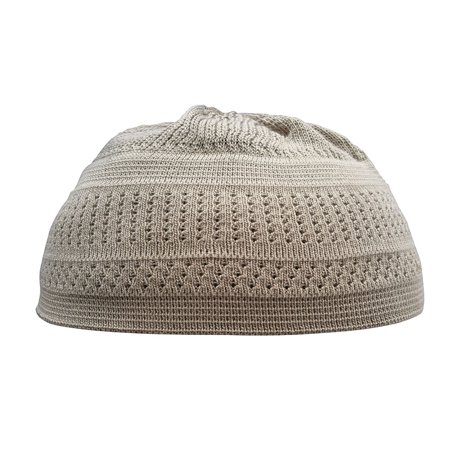 TheKufi® Khaki Topi Cotton Stretch-knit Style Kufi Hat Beanie Skull Cap (L) (Kufi Hats Indonesia Style)