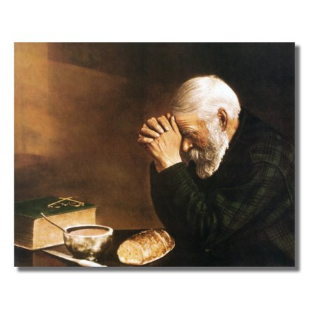 Daily Bread Man Praying at Table Grace Religious Wall Picture 8x10 Art - Antique Religious Print