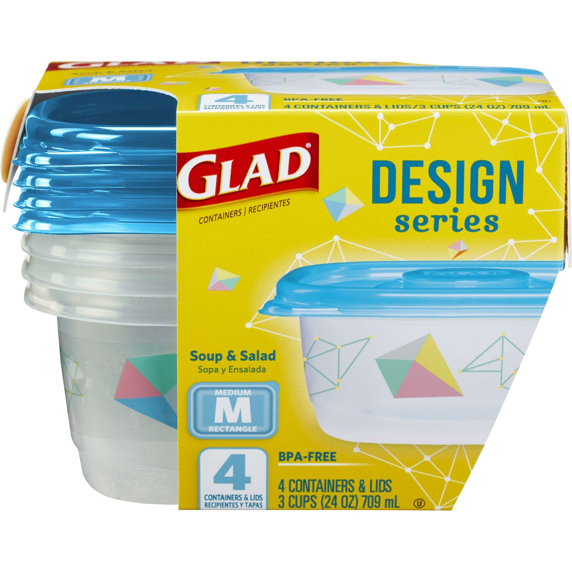 Glad Food Storage Containers, Designer Series, Medium Rectangle, 24 oz, 4 ct