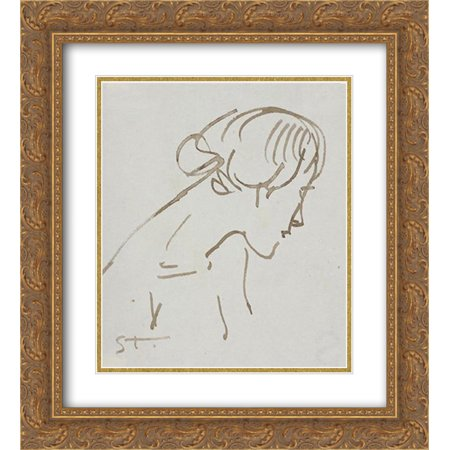 Theophile Steinlen 2x Matted 20x22 Gold Ornate Framed Art Print 'Woman ink profile