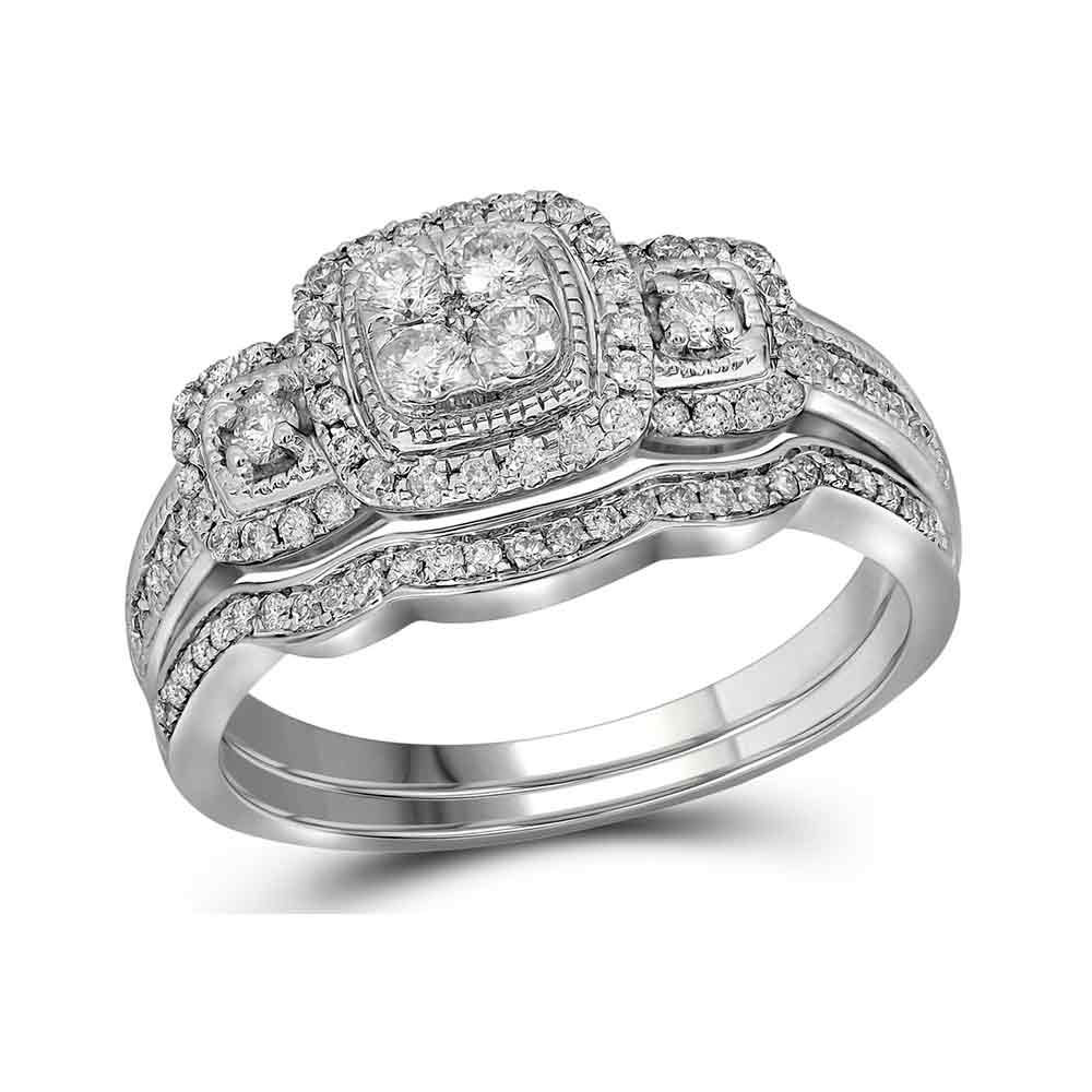 14kt White Gold Womens Round Diamond Bridal Wedding Engagement Ring Band Set 1 2 Cttw by Jewels By Lux