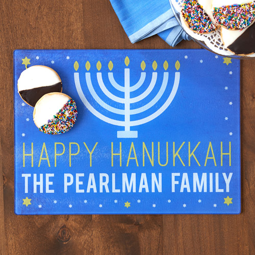 Personalized Hanukkah Glass Cutting Board