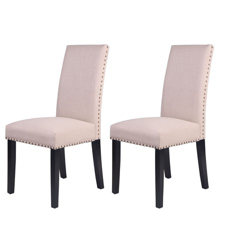Buy-Hive Dining Chairs Set of 2 Home Upholstered Kitchen Breakfast Dining Room Seat Wood Legs