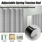 3.6-8.5ft Black Spring Telescopic Stainless Steel Shower Curtain Rail Extendable Bath Pole Rod 32mm Diameter
