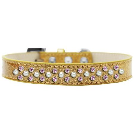 Sprinkles Ice Cream Dog Collar Pearl and Light Pink Crystals Size 16 Gold