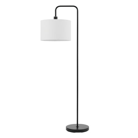"Globe Electric Barden 58"" Matte Black Floor Lamp with White Linen Shade, 67065"