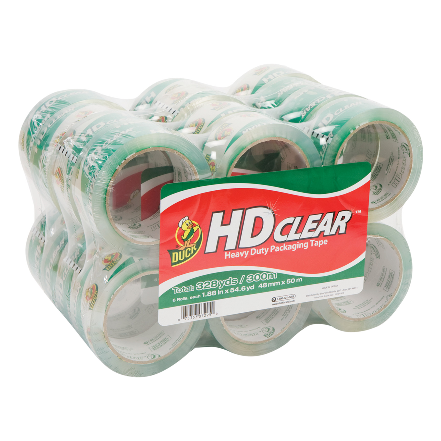 Duck HD Clear Packaging Tape, 1.88 in. x 54.6 yd., Clear, 24-Count