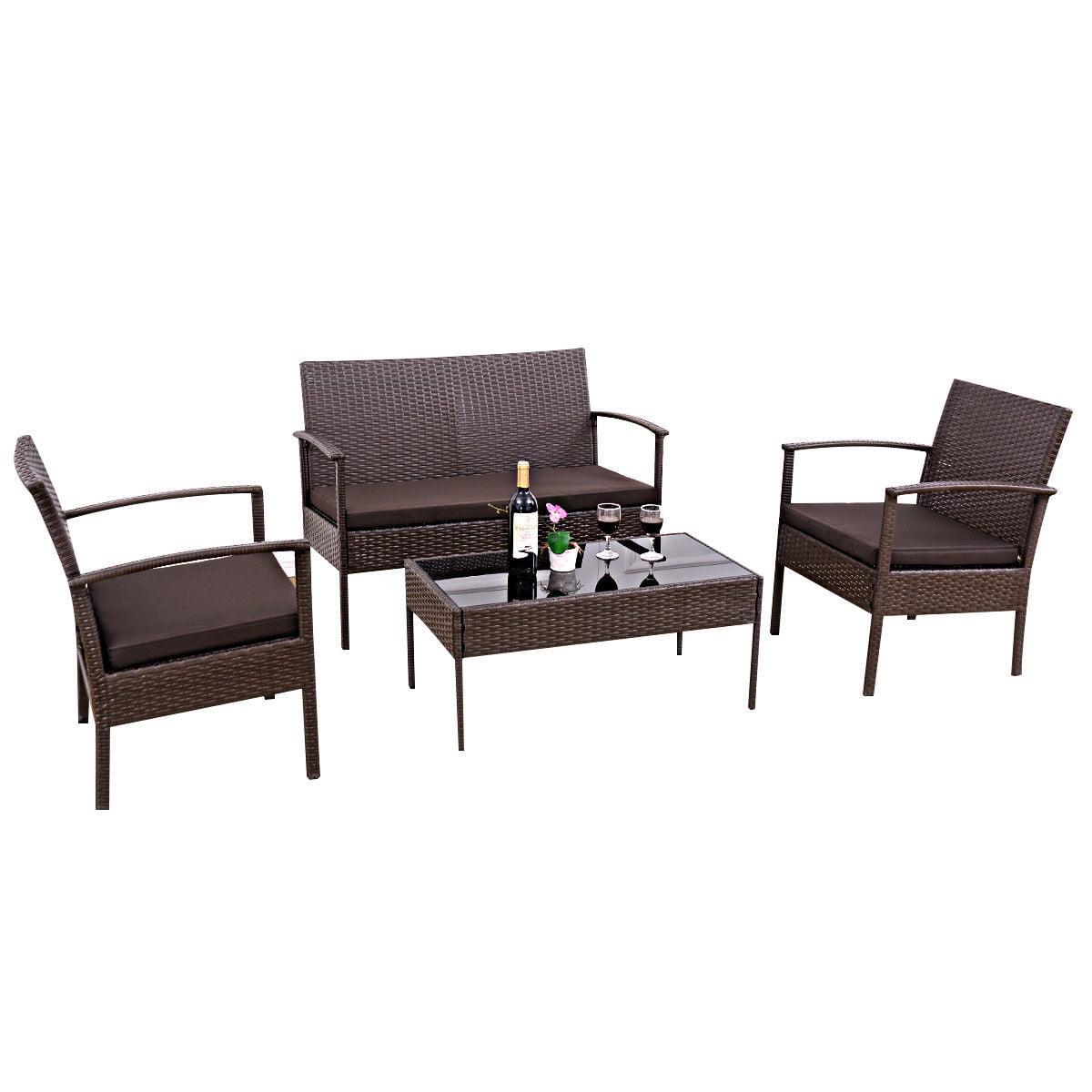 Gymax patio garden outdoor 4pc rattan wicker furniture set brown walmart com