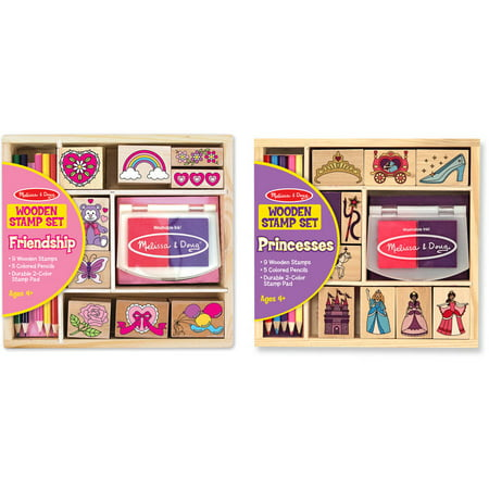 Melissa & Doug Wooden Stamps, Set of 2 - Princess and Friendship, With 18 Stamps, 10 Colored Pencils, and 2 Stamp
