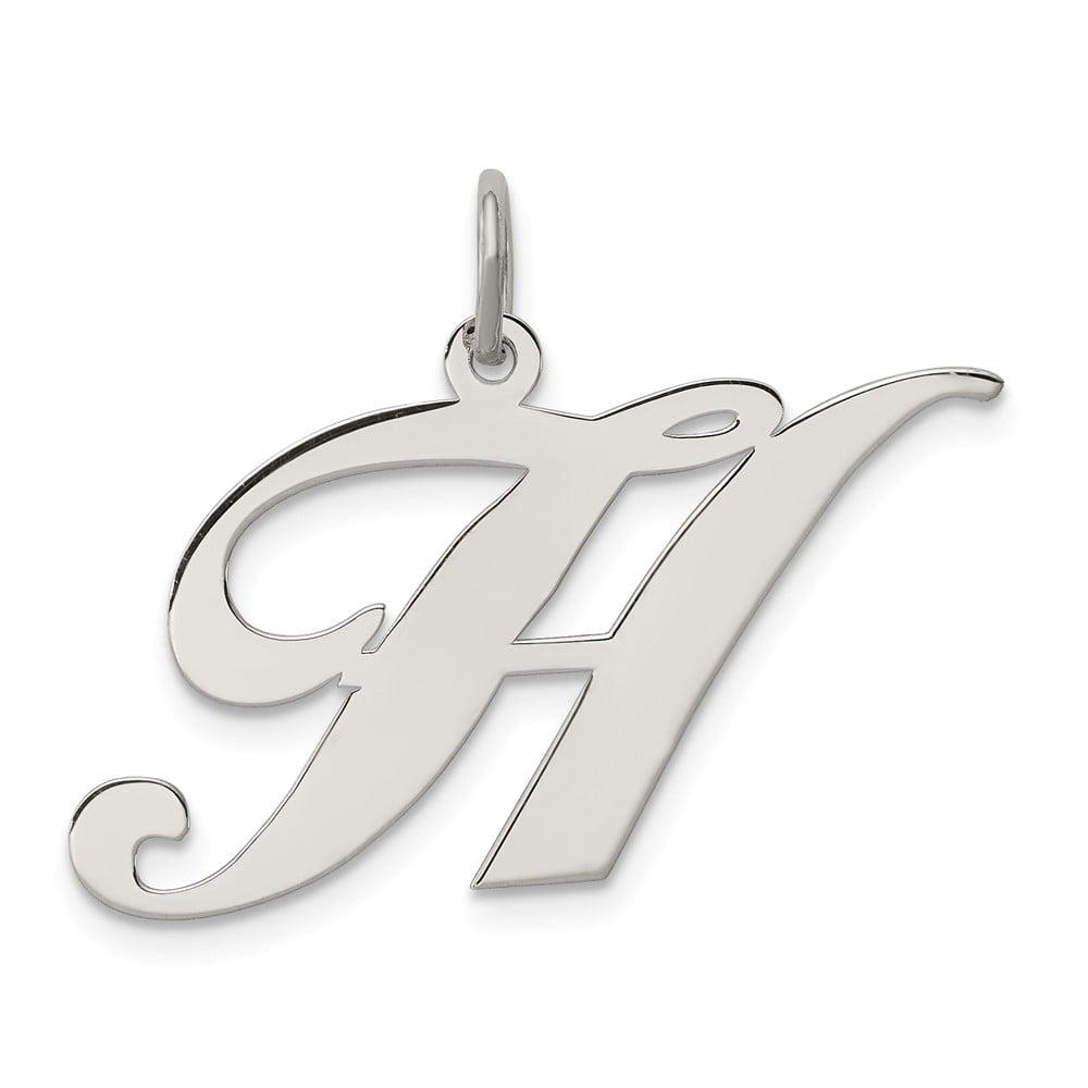 Sterling Silver Large Fancy Script Initial H Charm (0.8in)