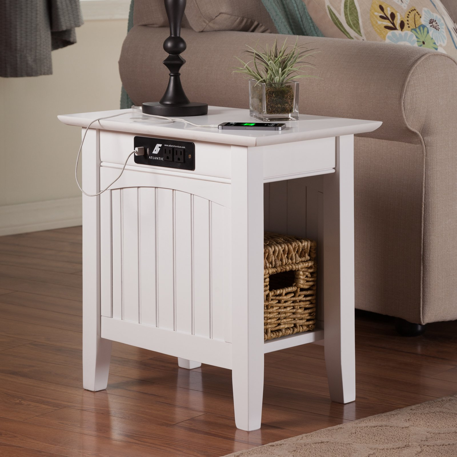 Atlantic Furniture Charlotte Chair Side Table With Charging Station