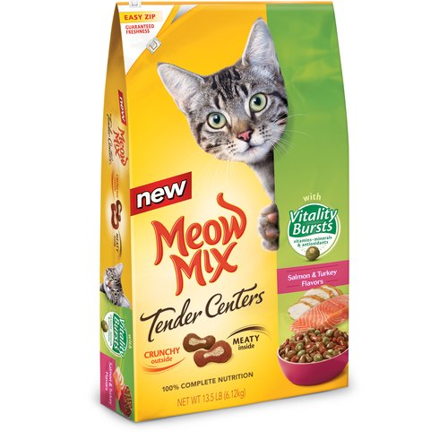 Meow Mix Tender Centers Salmon & Turkey Flavors with Vitality Bursts Cat Food, 13.5 lbs