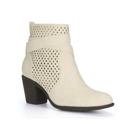 Unique Bargains Cross Straps Block Heel Perforated Ankle Boots (Women's) Womens Kings Cross Boot