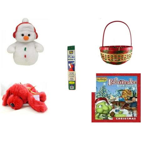 Holiday Fruitcake - Christmas Fun Gift Bundle [5 Piece] - Ty Baby Beanies Cottonball - Snowman - Festive  Basket 11