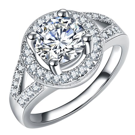 SHOPFIVE Trendy High Quality Shining White CZ Zircon Silver Color Rings For Women Engagement Wedding Rings 5 6 7 8 9 10