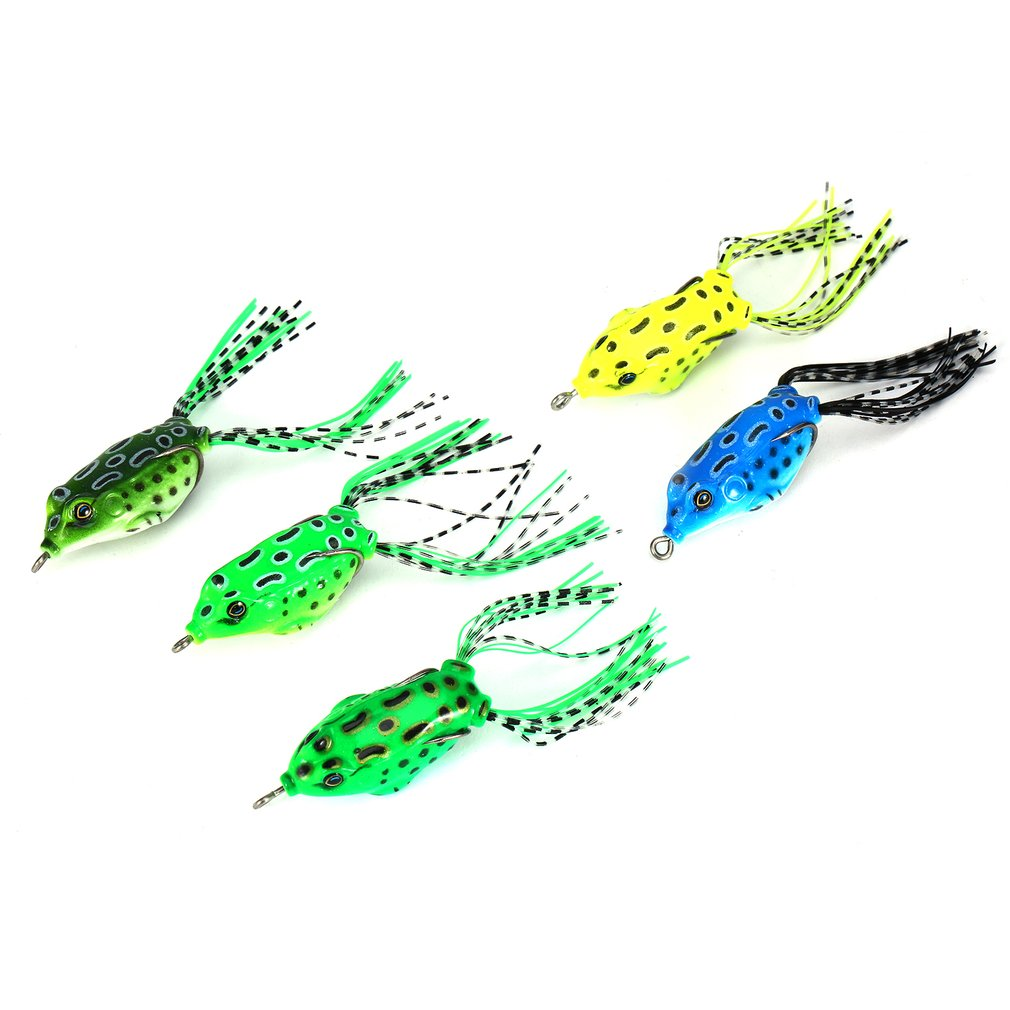 5Pcs New Style Soft Toad Frogs Bass Fishing Lure Soft Plastic Hollow Fishing Lure Crankbait Hooks Wholesale Free shipping by