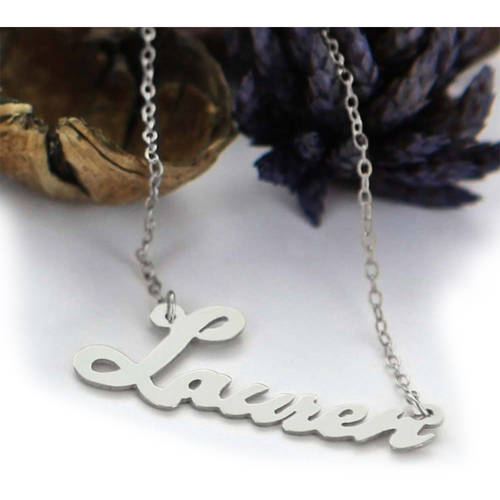 Personalized Script Name Necklace, Silver
