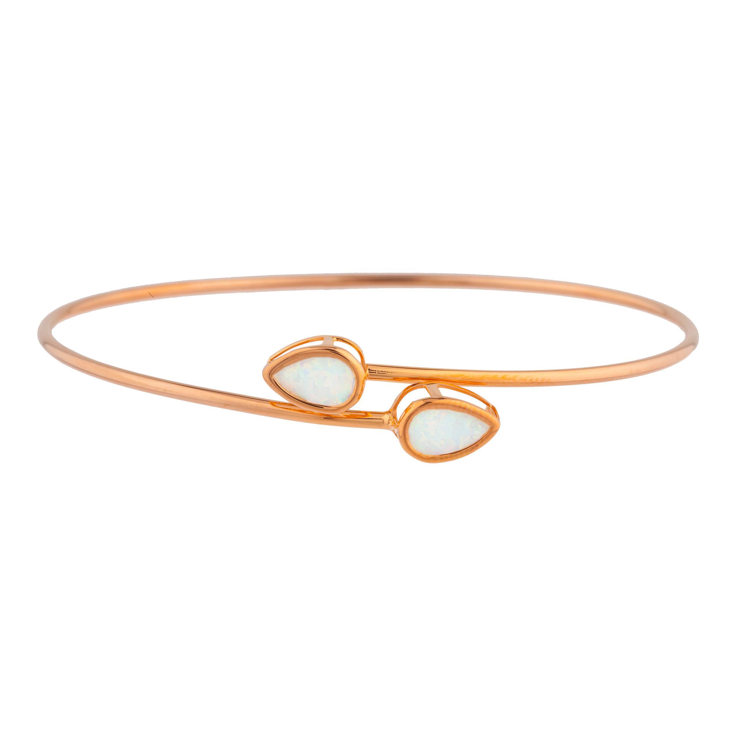 14Kt Rose Gold Plated Opal Pear Bezel Bangle Bracelet by Elizabeth Jewelry Inc