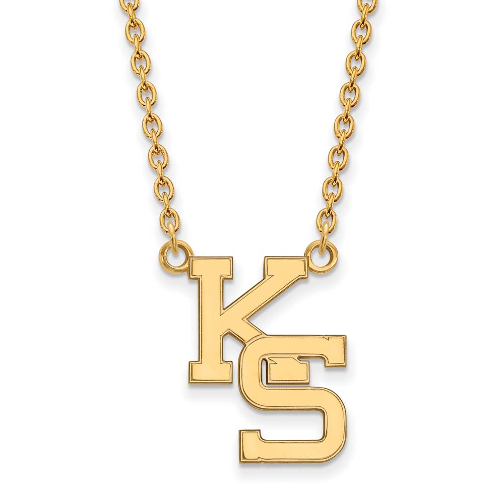 Kansas State Large (3/4 Inch) Pendant w/ Necklace (10k Yellow Gold)