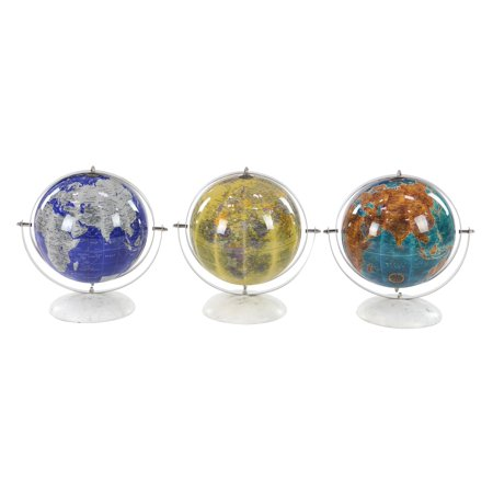 Modern 11 Inch Stainless Steel And Marble Pop Art Globes, Blue - Set of 3