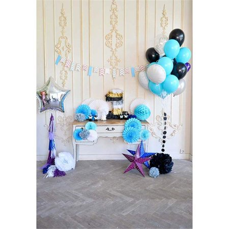 ABPHOTO Polyester Baby Boy's 1st Birthday Party Photo Backdrop Paper Flowers Blue White Black Balloons Stars Kids One Year Old Celebration Photography Background 5x7ft