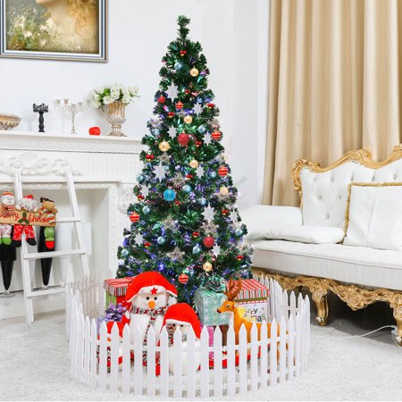 Fiber Optics Decorations (Gymax Fiber Optic 6'Artificia Christmas Tree PVC Material Metal Stand Holidy)
