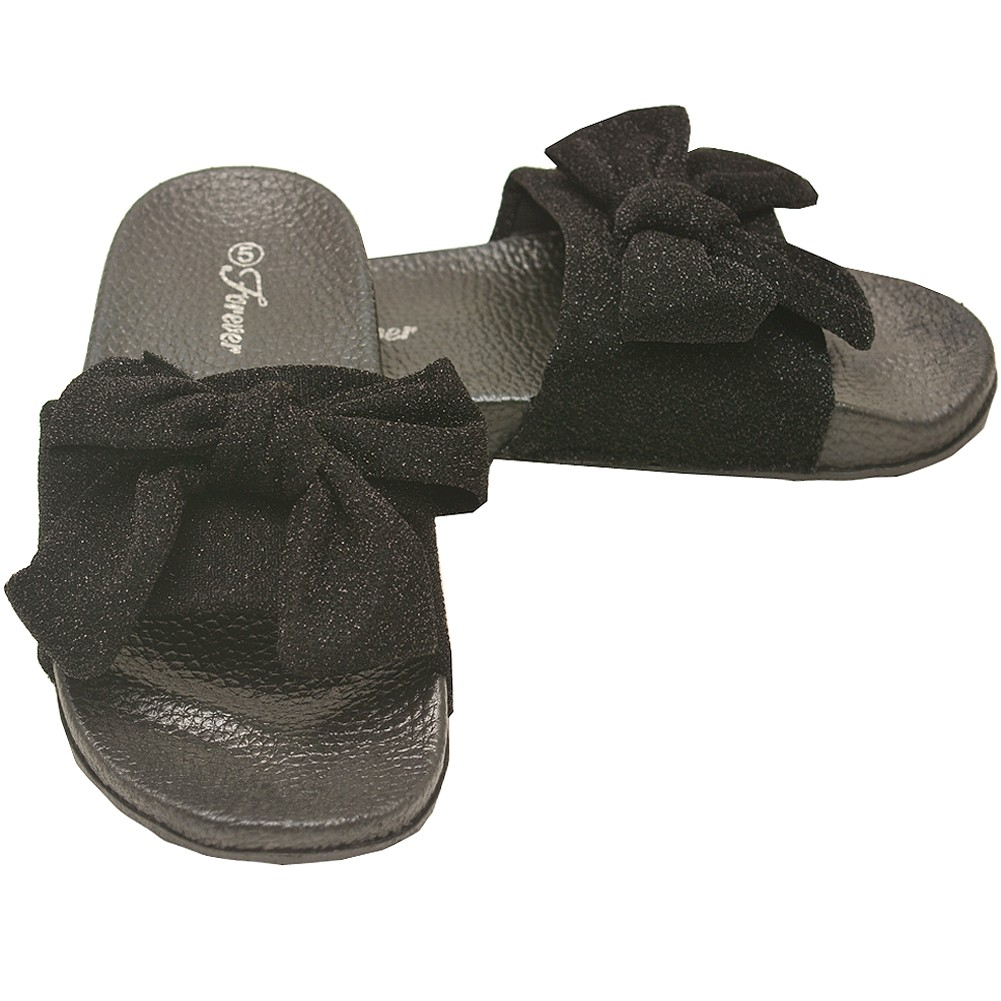 Adult Black Glitter Ribbon Bow Accent Open Toe Slipper Sandals