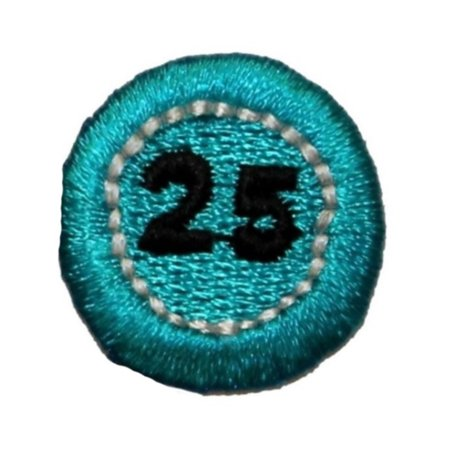 ID 0060B Blue $25 Poker Chip Patch Casino Money Embroidered Iron On Applique - Mommy Patch Products