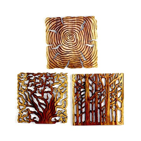 Haussmann Wall Panels Tree Life Through 18 In X 18 In S/3 Antique Oak
