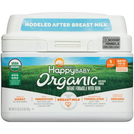 Happy Baby Organics Organic Stage 1 Milk Based Powder with Iron Infant Formula 21 oz.