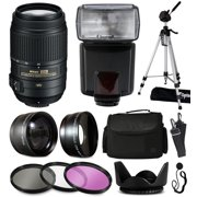 Nikon 55-300mm VR Lens 2197 + Accessory Kit with 2.2x & 0.43x Adapters + Flash + Tripod + Case + Filters for Nikon DF D7