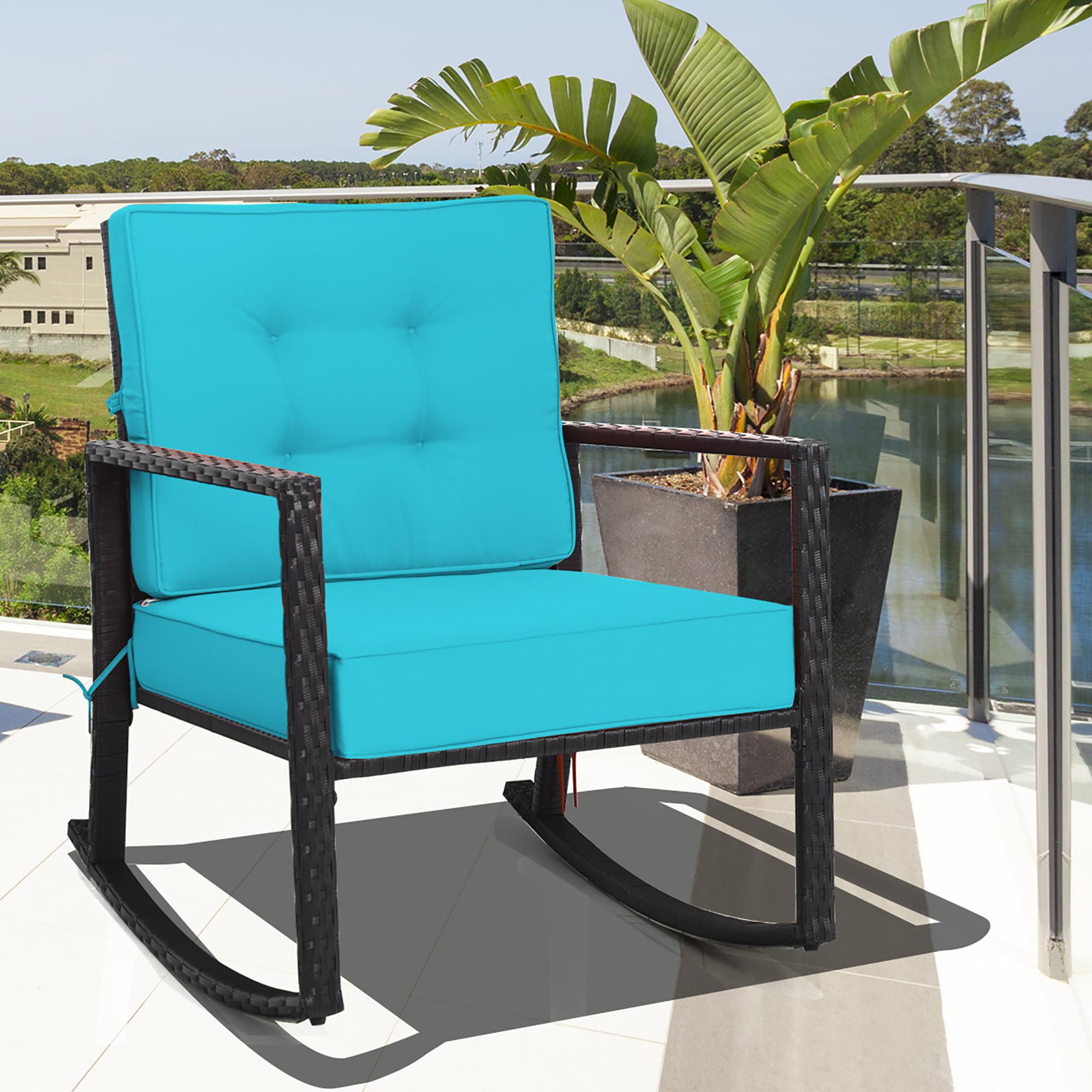 Costway Patio Rattan Rocker Chair, Outdoor Furniture Rocking Chair Cushions