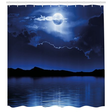 Night Shower Curtain, Fantasy Moon and Clouds over Calm Water Seascape Dramatic Cloudy Dark Sky, Fabric Bathroom Set with Hooks, Navy Blue White Black, by Ambesonne (Calm Shower)