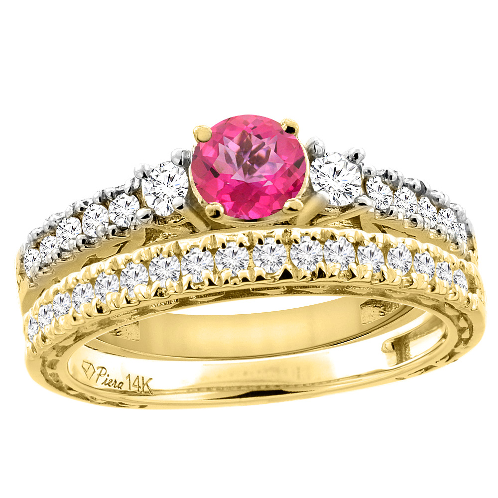 14K Yellow Gold Diamond Natural Pink Topaz Engagement 2-pc Ring Set Engraved Round 6 mm, size 5 by Gabriella Gold