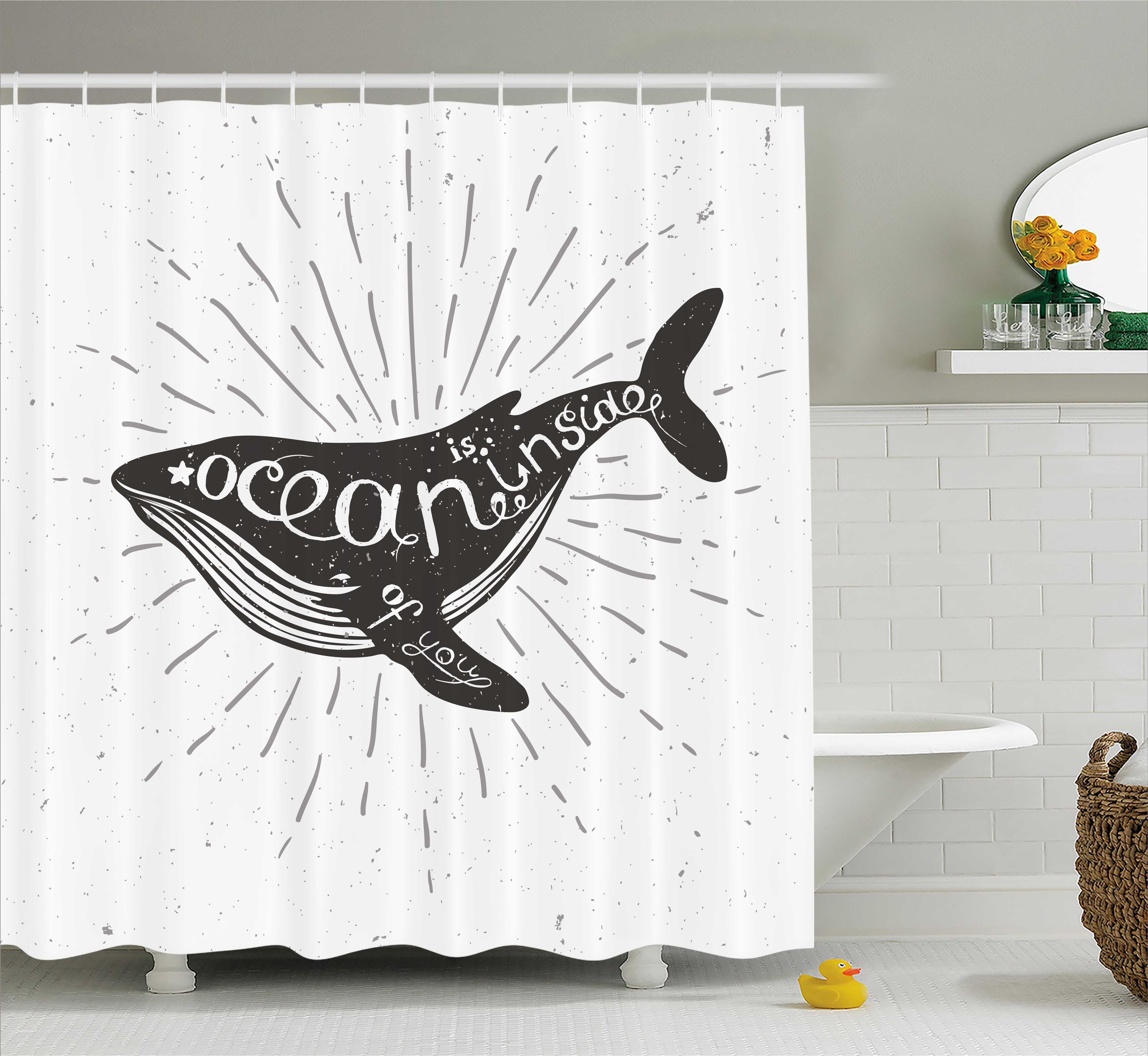 Whale Shower Curtain, Ocean Inside Of You Inspirational Typography With Big  Fish Grunge Illustration,