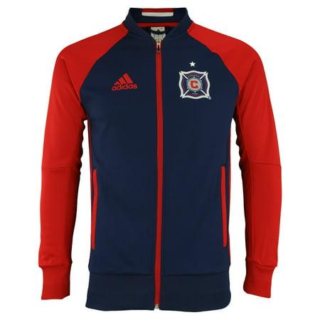 adidas MLS Men's Chicago Fire Anthem Full Zip Jacket, Navy Adidas Stadium Jackets