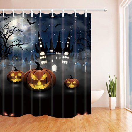 BPBOP Halloween Party with Pumpkins Castle with Bats in Tomb at Moon Night Polyester Fabric Bath Curtain, Bathroom Shower Curtain 66x72 inches - Tombe Halloween