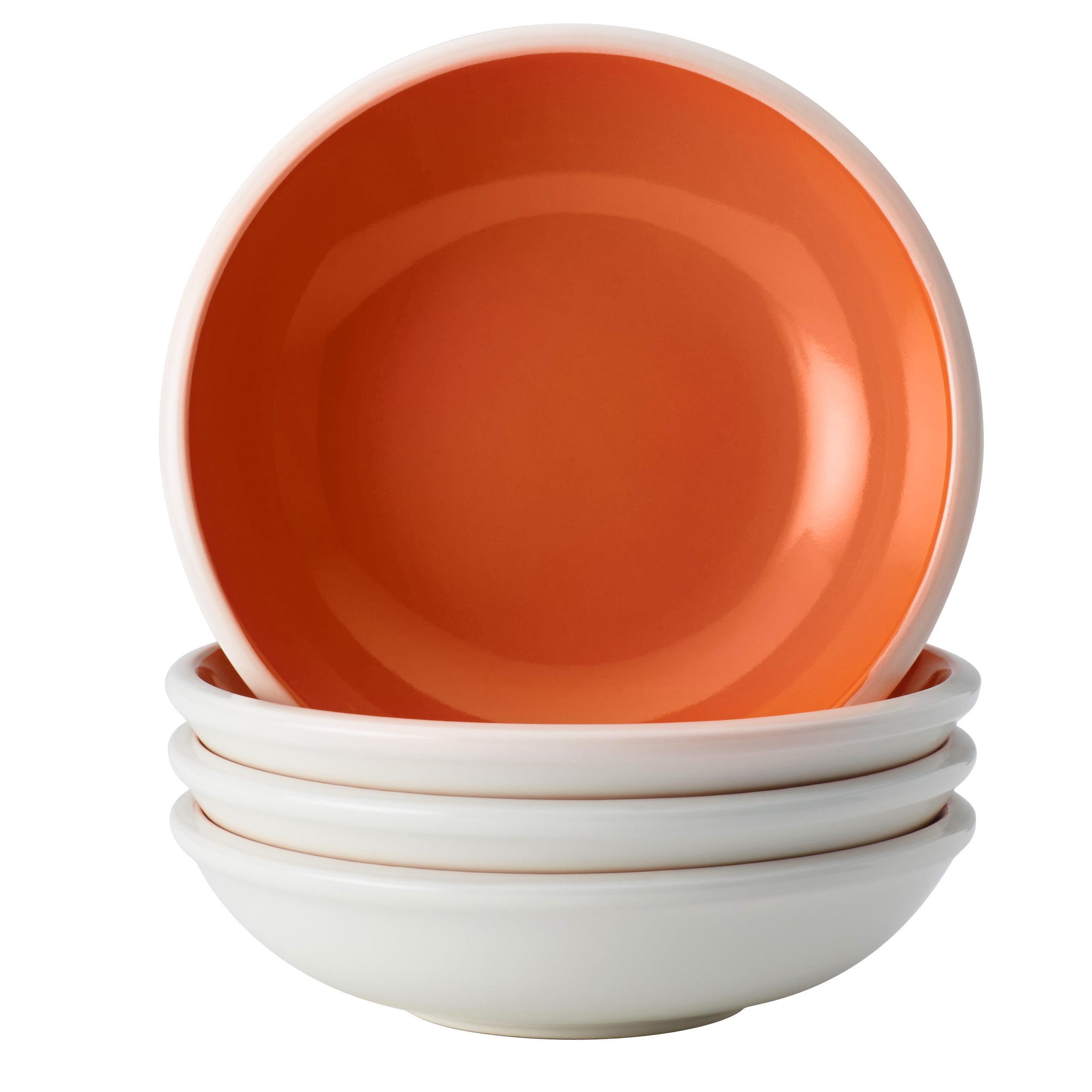 Rachael Ray Dinnerware Rise 4-Piece Stoneware Fruit Bowl Set, Orange