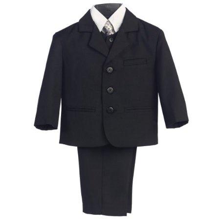 5 Piece Black Suit with Shirt Vest and Tie - Size 12 - image 1 de 1
